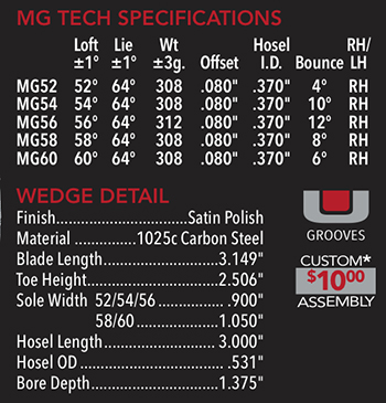Maltby Tricept MG Tech Wedge Clubhead Specifications